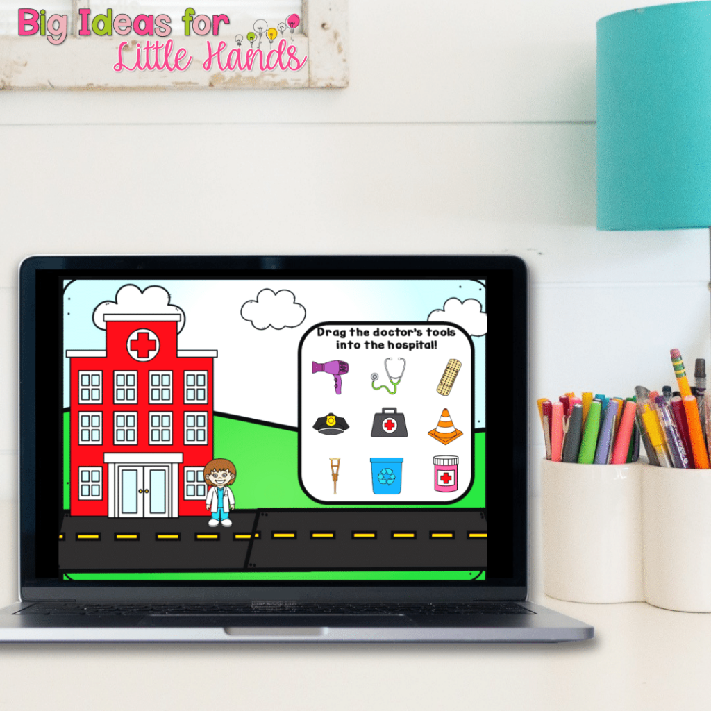Google Slides and Boom Cards digital activities for community helpers